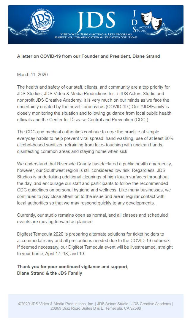 covid19 letter JDSCA
