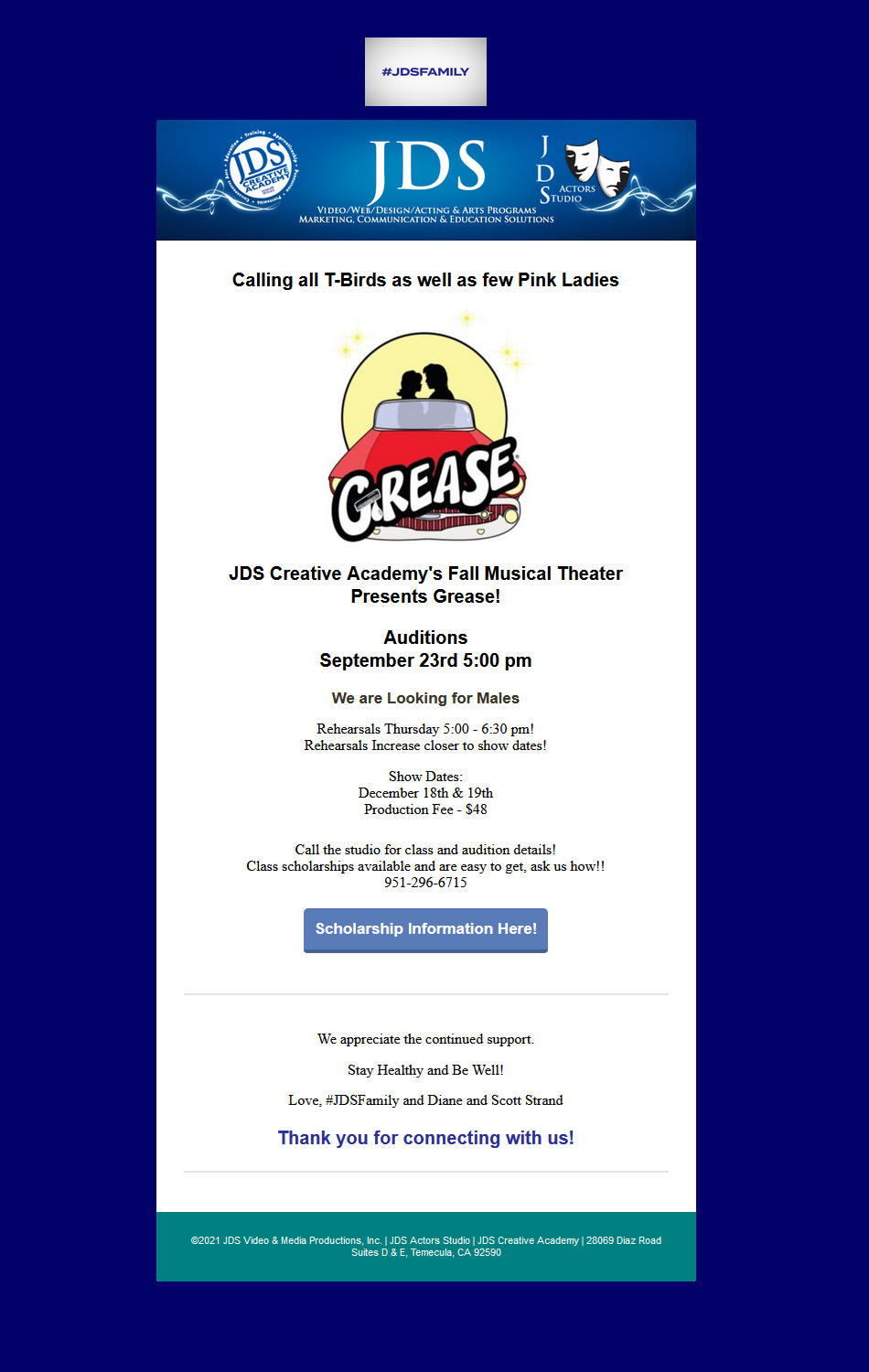 JDSCA Grease Auditions Thursday