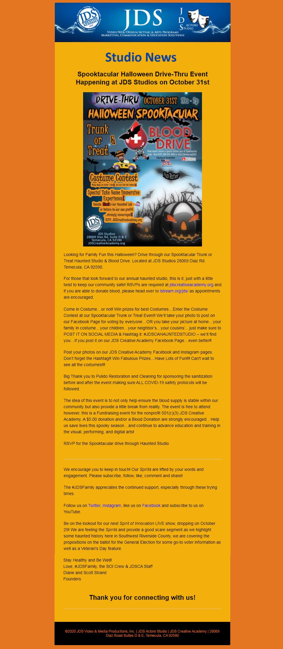 JDS Studio News Halloween Spooktacular Event