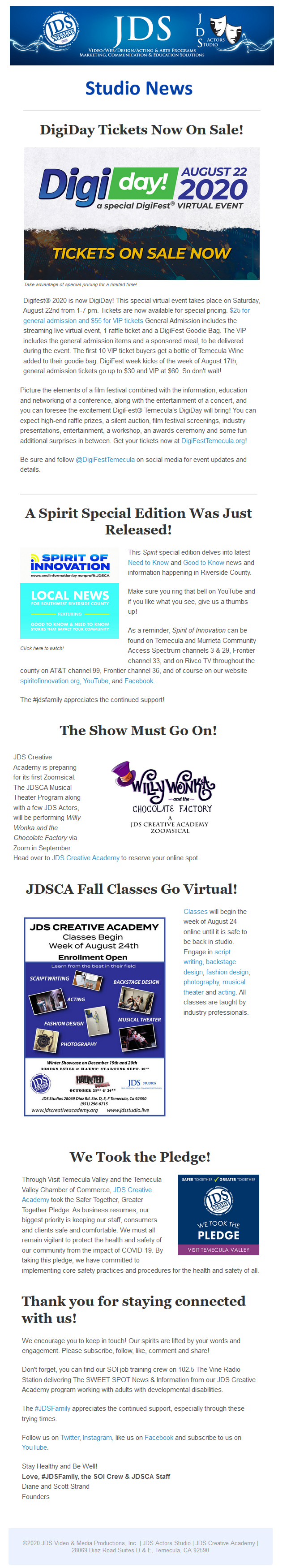 JDS Studio July Good to Know News
