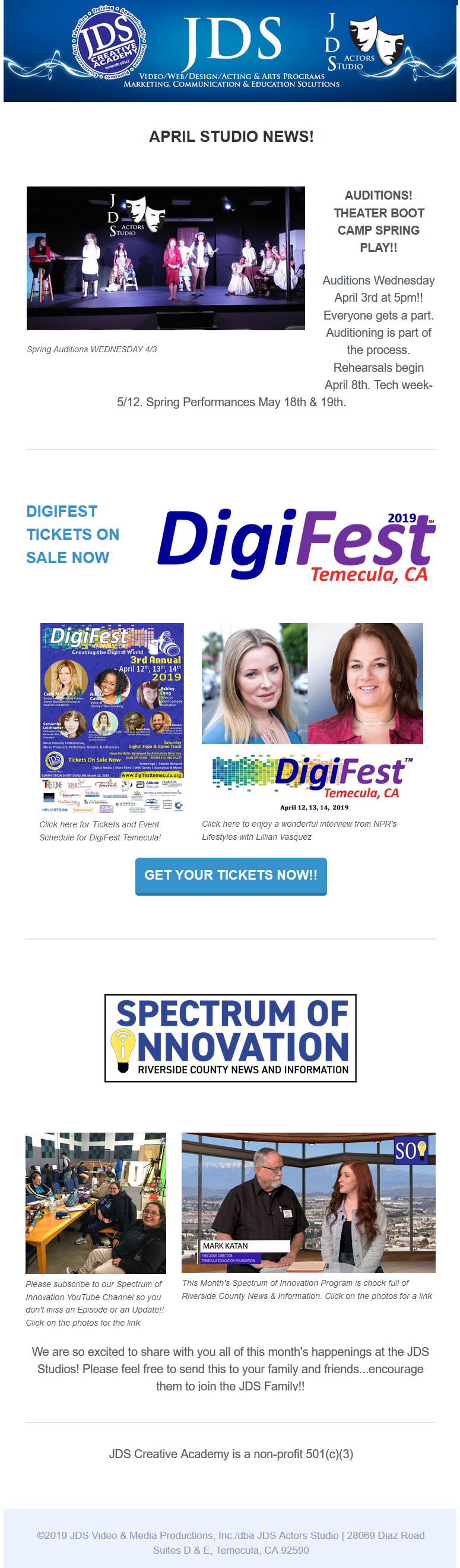 The Latest JDS News & Info...DigiFest & Auditions