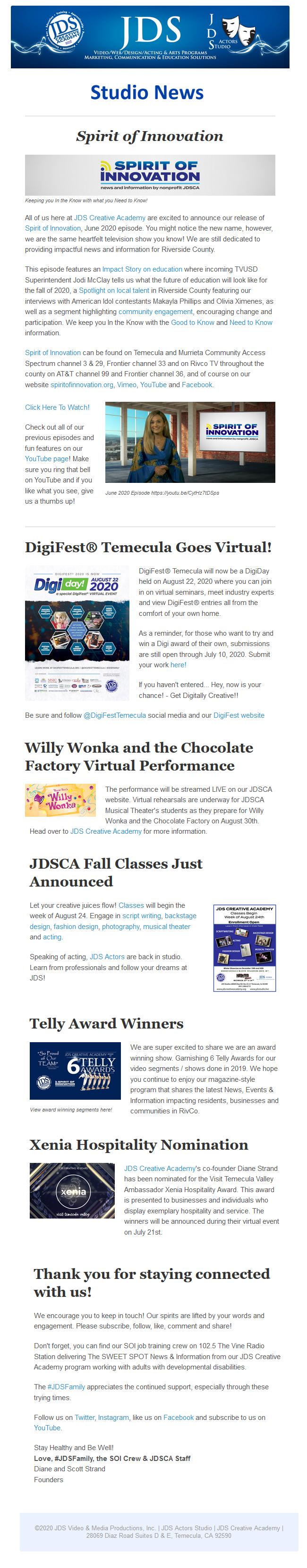 JDS Studio July News 2020