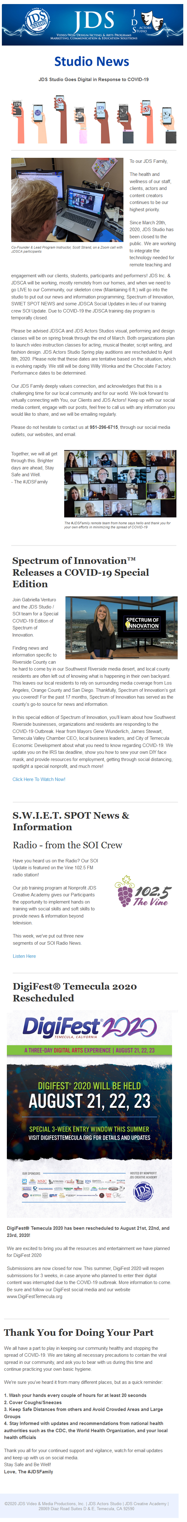 JDS Studio News March