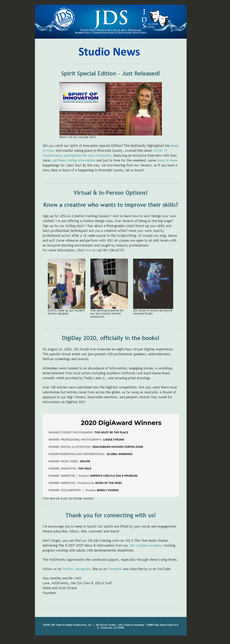 JDS Studio News September 2020