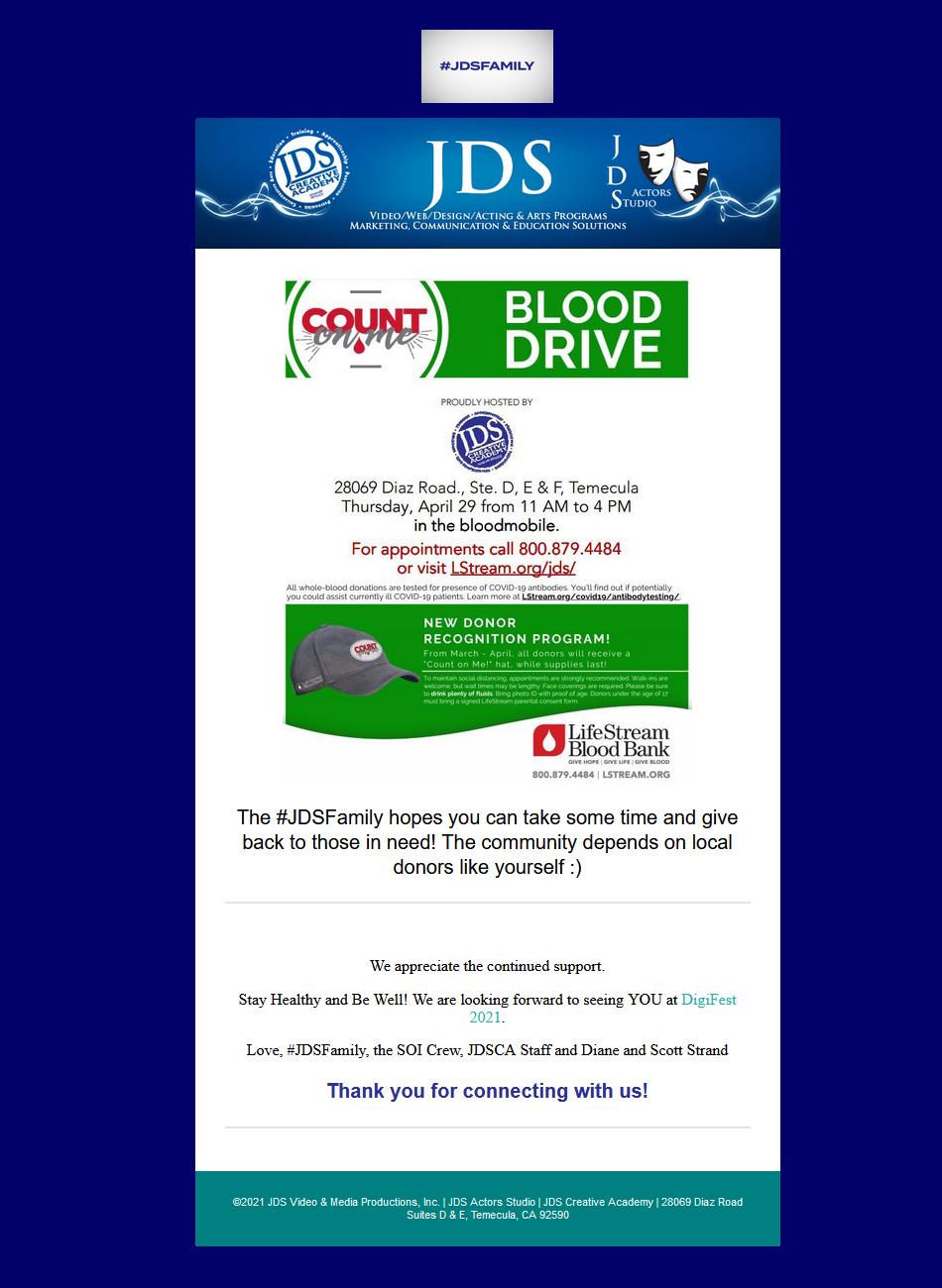 JDS Creative Academy Hosts a Blood Drive
