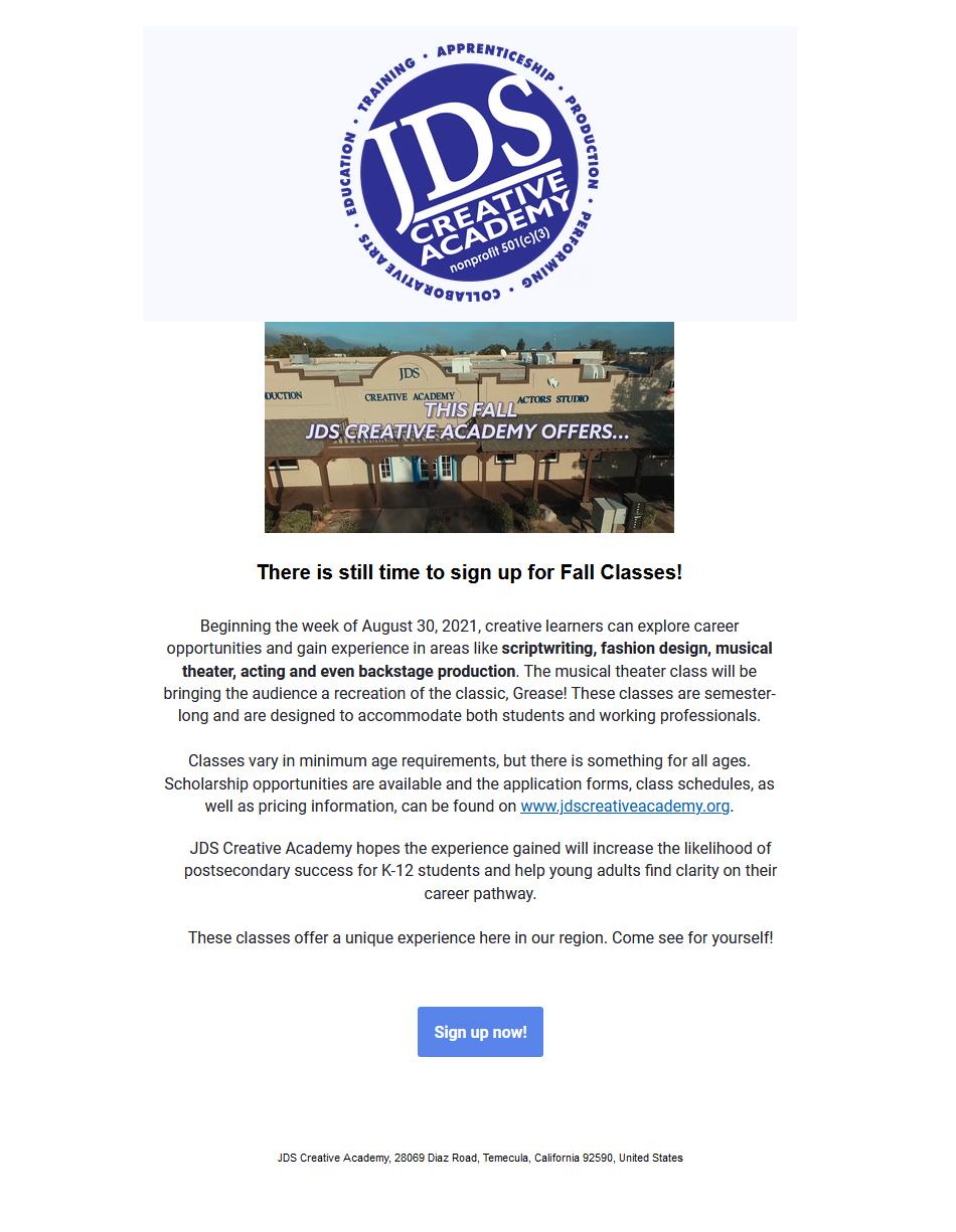 JDSCA Classes Start Soon