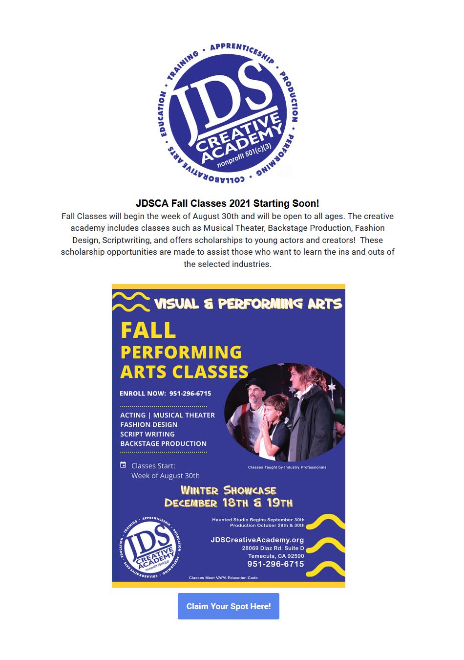 JDSCA Fall Classes 2021
