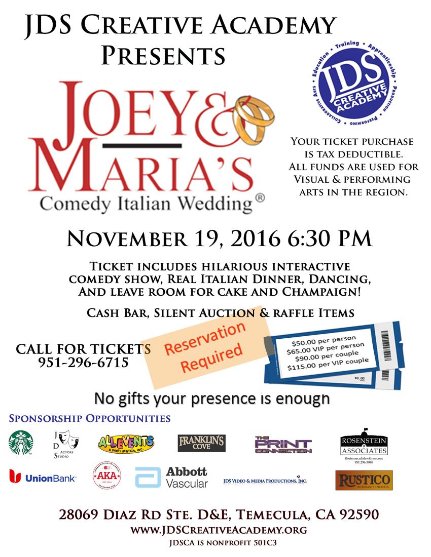 JDSCA November Fundraiser Joey & Maria's Wedding