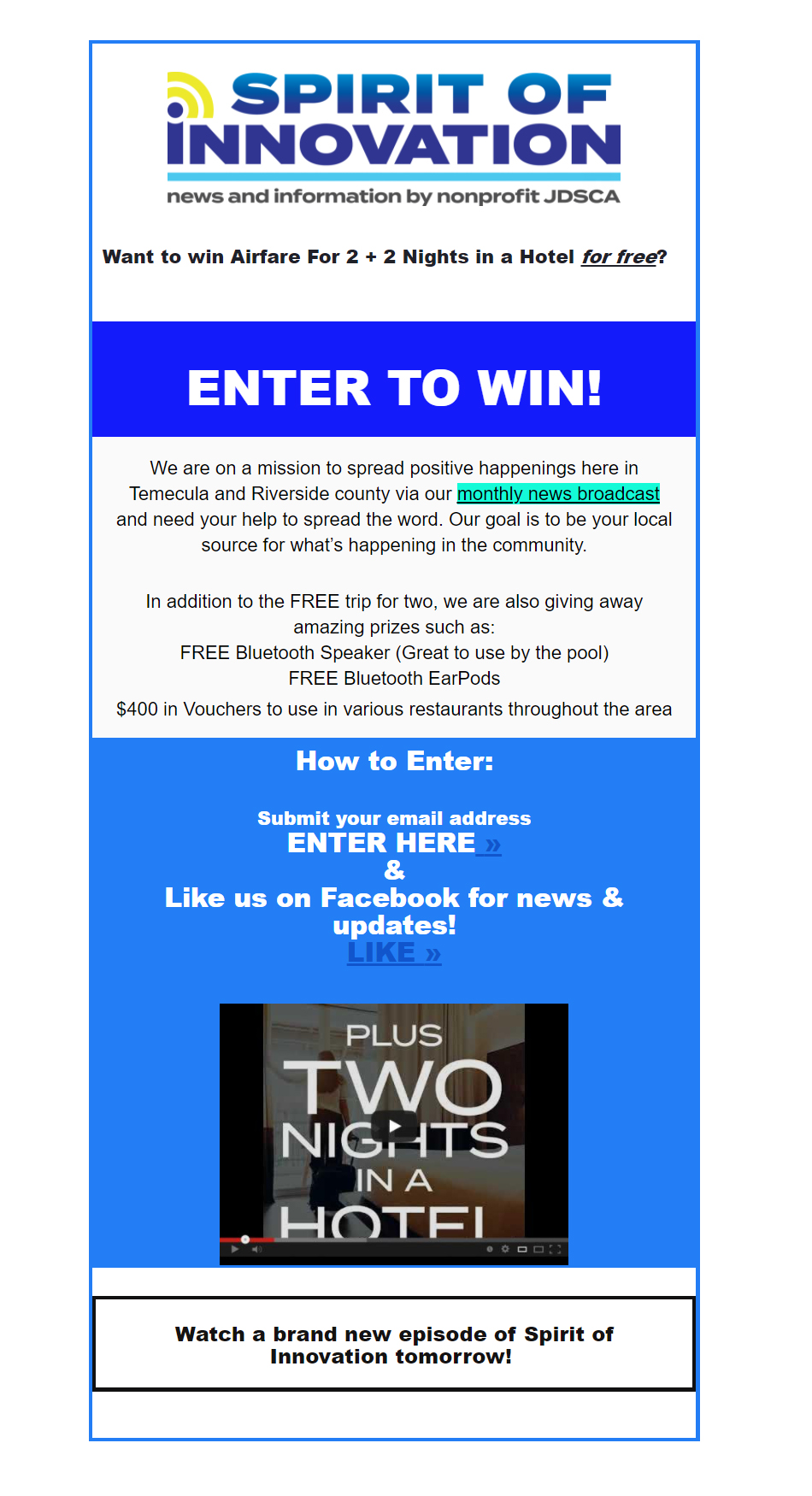 Spirit of Innovation FREE trip giveaway