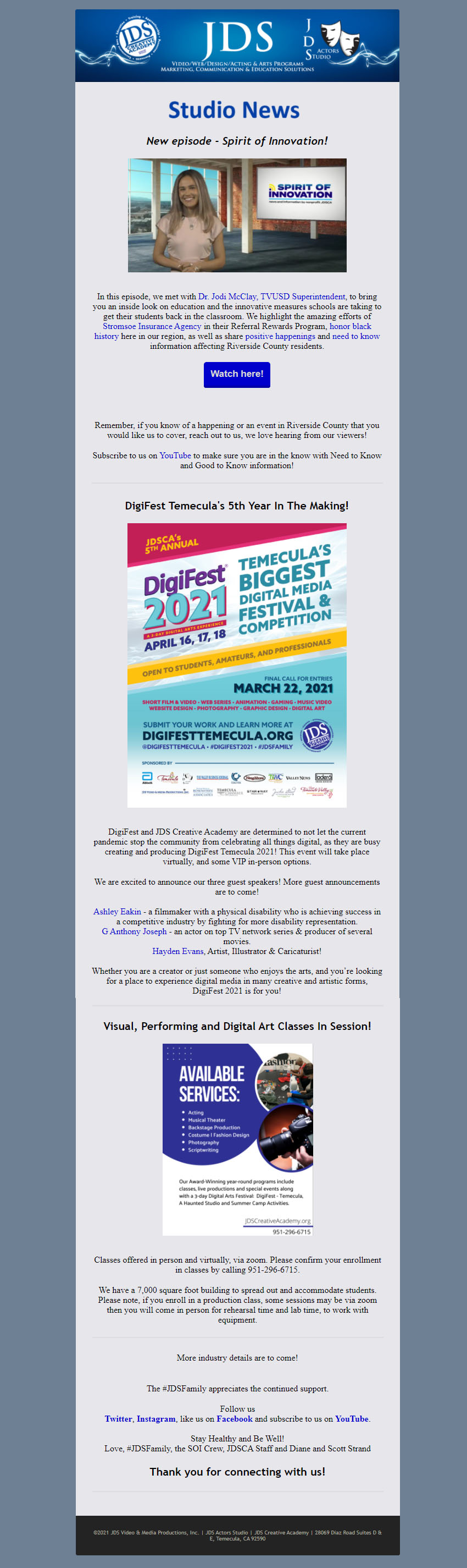 Spirit of Innovation New Episode, DigiFest 2021 and Creative Classes For All Ages