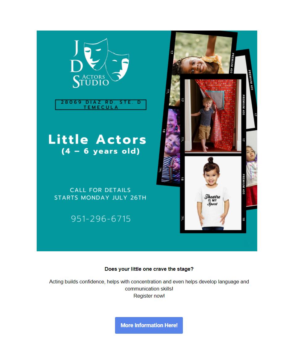 JDS Actors Studio Toddler Acting Classes in Temecula