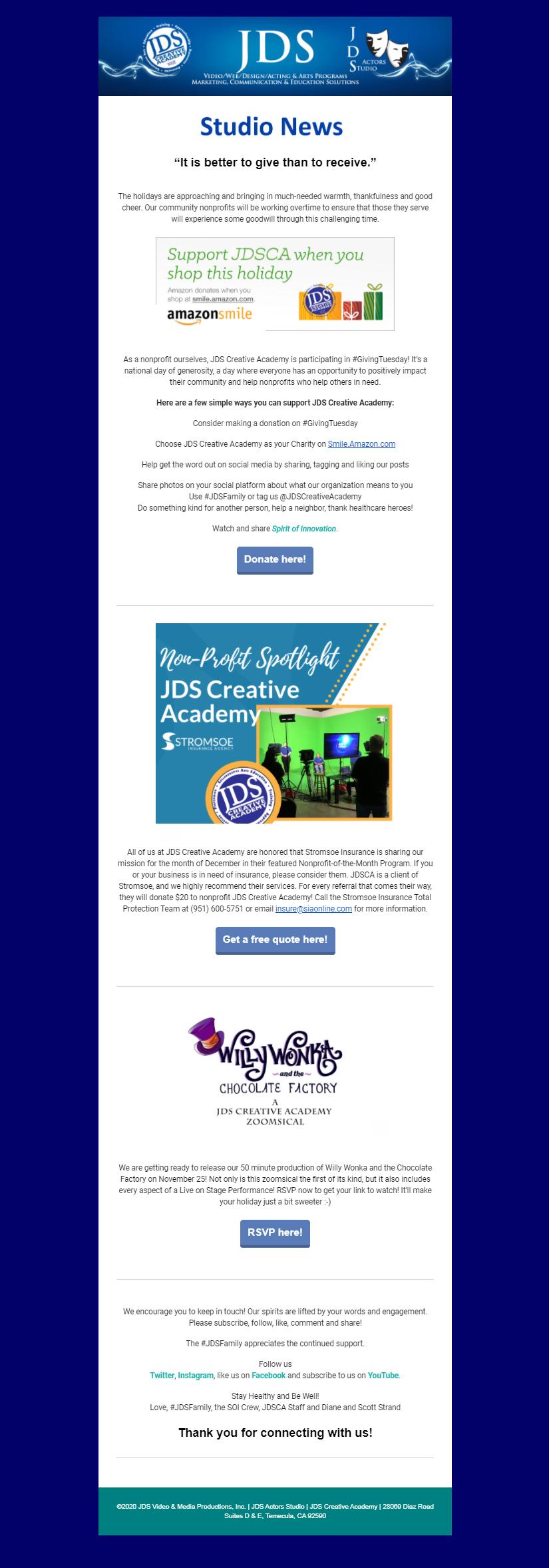 JDS Studio News November